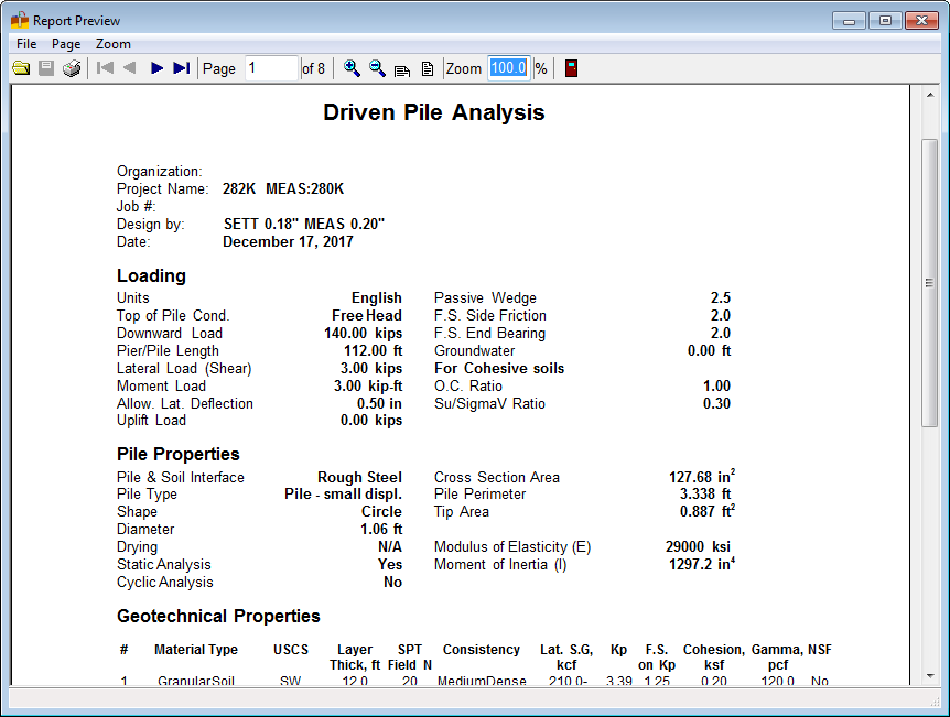 Driven Pile Professional Software - SoilStructure Software